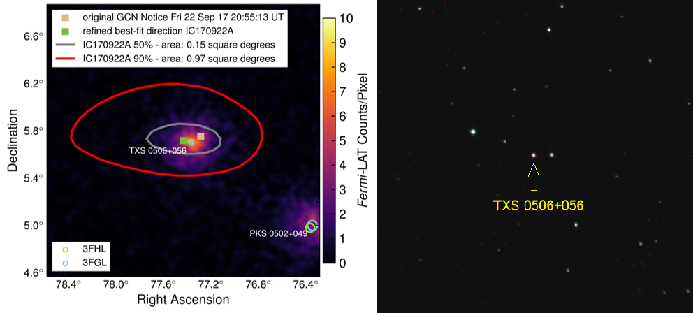 TXS 0506+056のガンマ線・可視光画像
