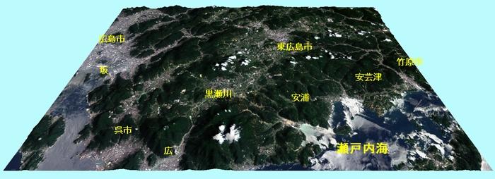 東広島市周辺 (全体) の3D (JPG画像: 地名等入り)
