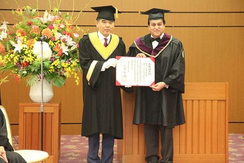 "Awarding the title of ""Hiroshima University Honorary Doctorate"" to Dr. Khaled Atef Abdel Ghaffar"