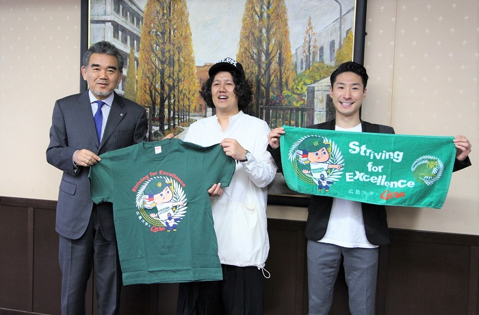 (左から)越智学長、大窪シゲキさん、江本一真さん