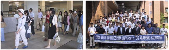 左:中央図書館を見学 右:生物圏科学研究科前で記念撮影