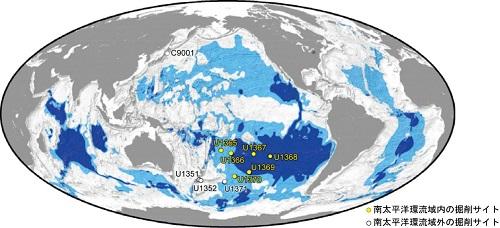 図1 研究試料を得た海底堆積物の掘削サイト