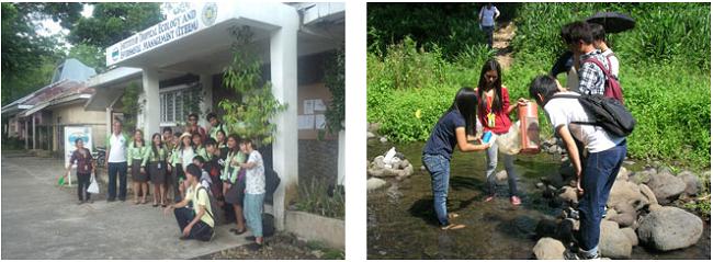 左:環境に関する授業のあとで 右:生態観察の実習