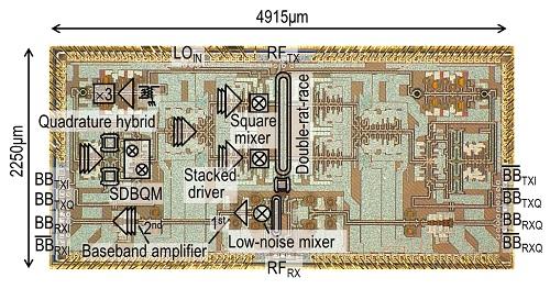 開発したトランシーバ集積回路のシリコンチップ写真