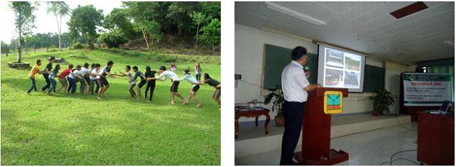 左:VSU学生とレクリエーションで交流 右:セミナーで講演する長岡先生