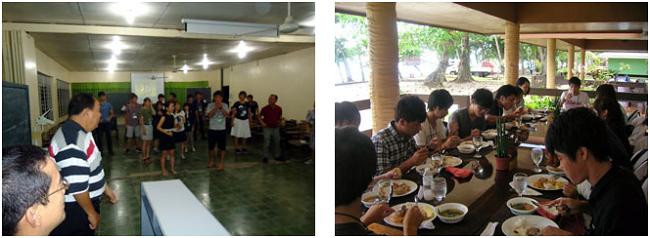 左:VSUの学長も参加して文化交流 右:宿舎に隣接した学内レストランでの食事