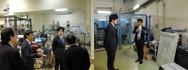 放射光科学研究センターを視察する奥篤史室長