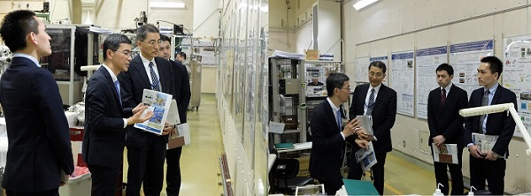 放射光科学研究センターを視察する磯谷局長
