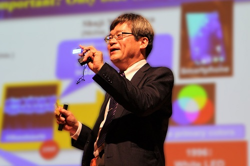 Professor Amano with the blue-emitting diode