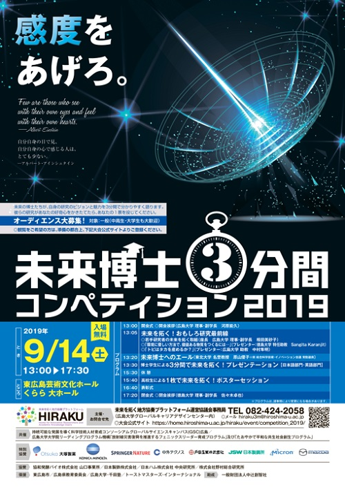 HIRAKU Three Minute Thesis Competition 2019 to be held on Sep 14