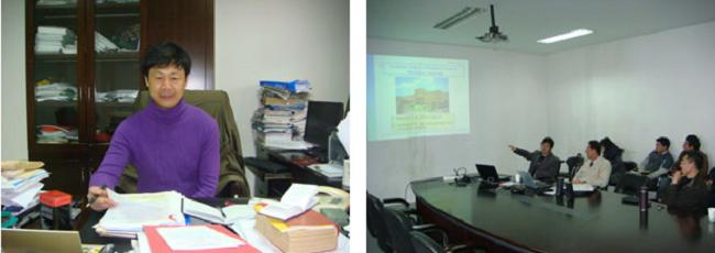 左:四川農業大学の張教授(国際交流担当) 右:四川農業大学動物栄養学研究所でのセミナー