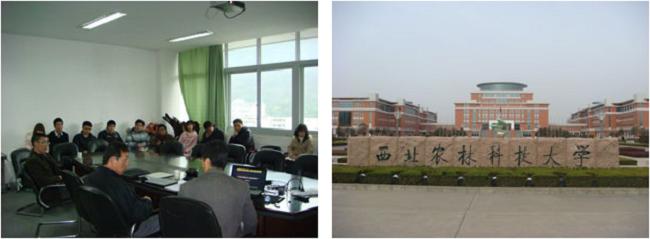 左:四川農業大学動物栄養学研究所でのセミナー  右:西北農林科技大学の南キャンパス正門