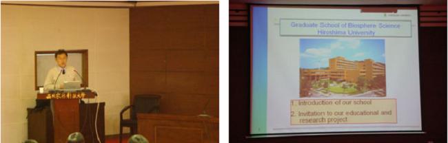 西北農林科技大学の院生対象セミナー(左は講演する前田教授)