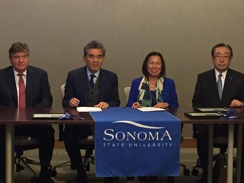 Mr. Fred Biagi, HU President Ochi, President Sakaki, and Mr. Komaru