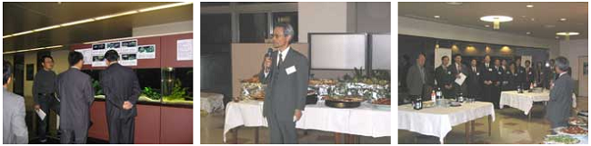 左:研究科見学 中央:研究科主催歓迎レセプション(鈴木研究科長の挨拶) 右:歓迎レセプション