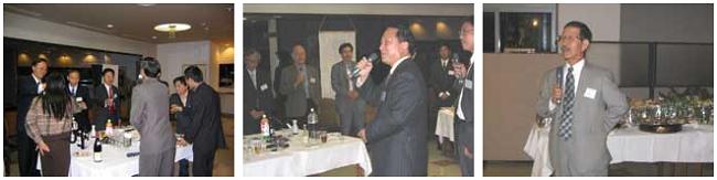 左:歓迎レセプション 中央:文心田学長の挨拶 右:山本義雄前研究科長の挨拶