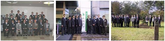 左:歓迎レセプション 中央:広島大学本部前にて 右:記念植樹