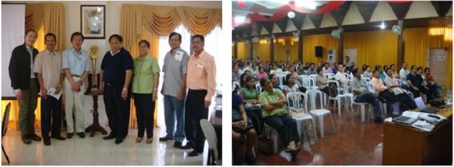 左:学長室にて(中央が学長のDr. Jose L. Bacusmo) 右:セミナーの様子