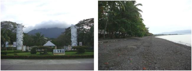 左:キャンパスの玄関 右:キャンパスの海岸