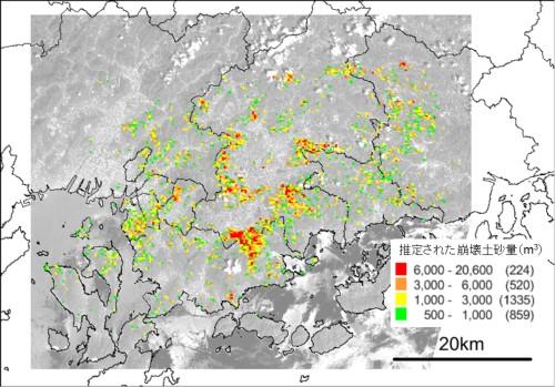 本手法で推定された崩壊土砂量の分布