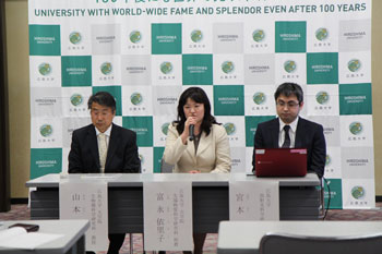 Press conference after being awarded the prize