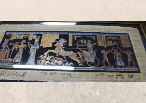 لوحة بردية قدمها السيد رشوان إلى رئيس جامعة هيروشيما الأستاذ الدكتور أوتشى