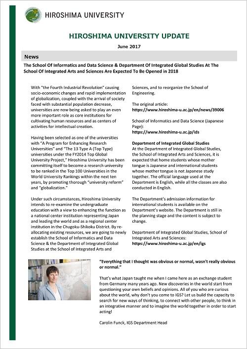 HIROSHIMA UNIVERSITY UPDATE June 2017 Issue