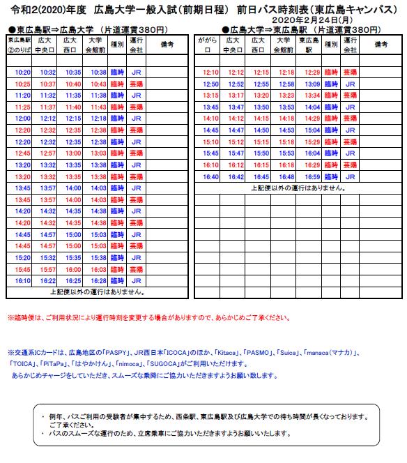 令和2年2月24日 (東広島駅-広島大学) バス時刻表(前日)