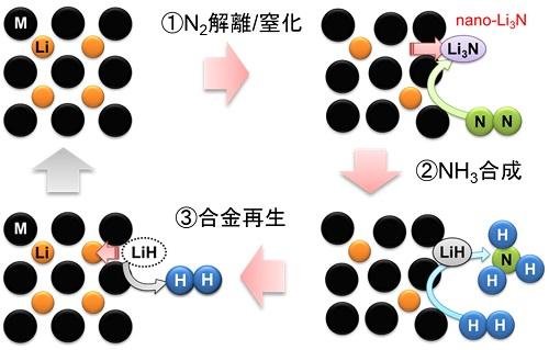 図1:Li合金を用いたNH3合成プロセスの概略図