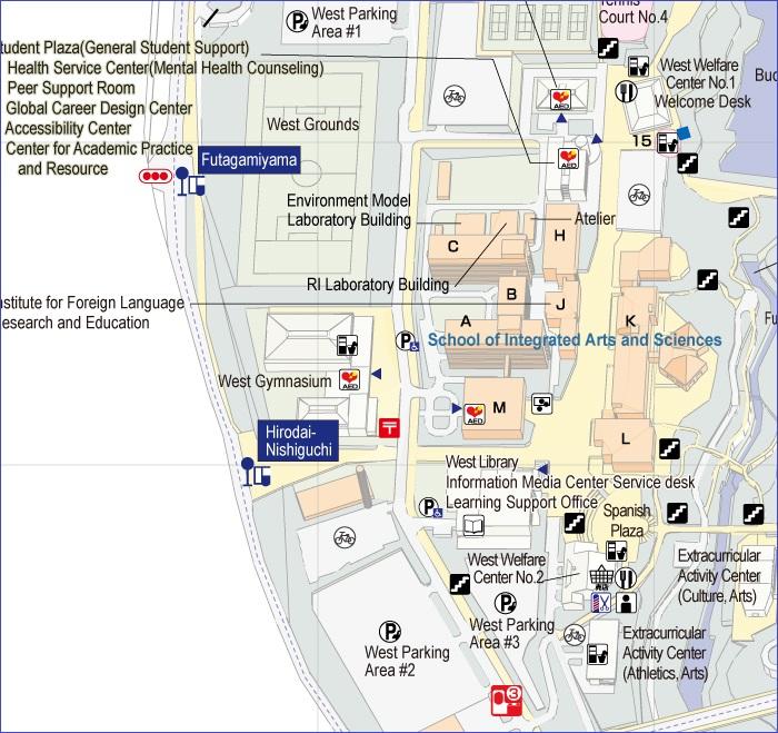"""map of """"Hirodai-nishiguchi"""" bus stop area"""
