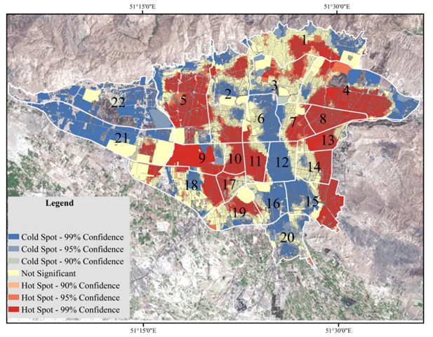 Population heatmap of Tehran