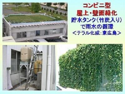 散水の仕組み(左下:貯水タンクで雨水を循環し、自動的に散水)