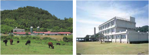 農場と水産実験所の写真