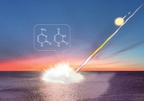 図1: 隕石の海洋衝突による核酸塩基生成の模式図