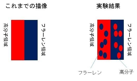 従来考えられていた接合状態(左)と本研究結果でわかった分子混合による構造(右)