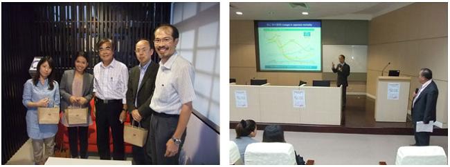 左:東海大学農学部長 閻教授との記念撮影  右:加藤教授講演会