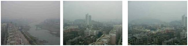 Xikang Hotel から見た朝もやの中の雅安市街地