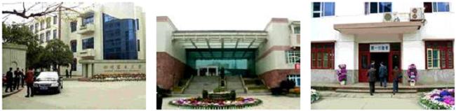 左:四川農業大学正門 中央:四川農業大学会議棟 右:四川農業大学事務部
