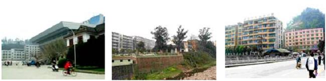 左:四川農業大学中央広場と体育館 中央:四川農業大学講義棟 右:四川農業大学学生宿舎