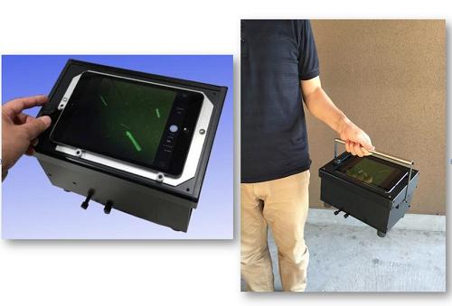 図2、開発したiPad蛍光顕微鏡(iFM)