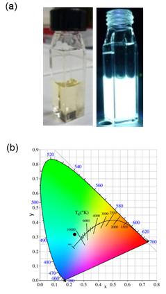図2 (a)Si量子ドット溶液の写真、(b)発光のCIE図