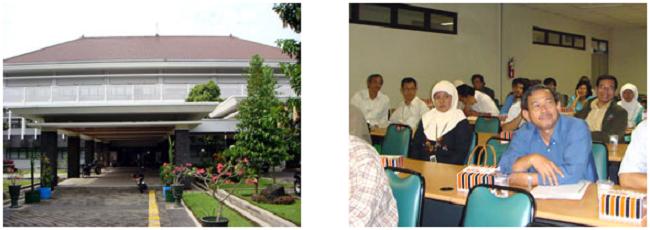 左:ガジャ・マダ大学農学部 右:農学部のスタッフ