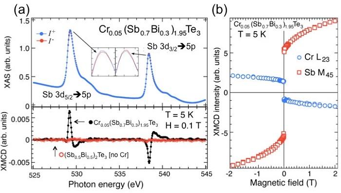 図3:(a)アンチモン(Sb)の内殻吸収スペクトルと(b)Cr、Sbの元素別磁化曲線