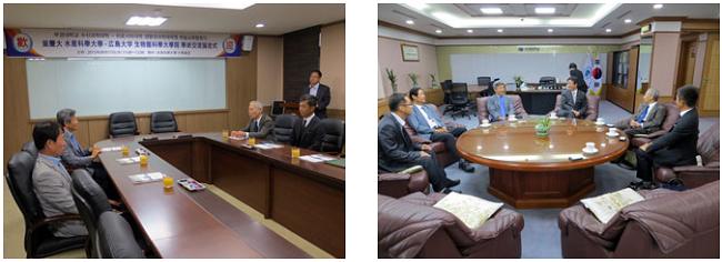 左:調印式後の意見交換 右:大学校長を表敬訪問