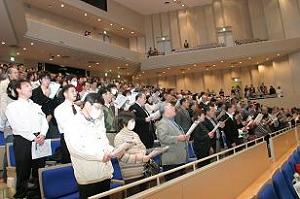 会場内全員による「広島大学歌」合唱