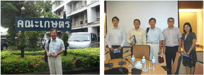 左:前田教授(農学部前にて) 右:Dr. Sutkhet Nakasathien(農学部副学部長、左から2人目)と畜産学科のスタッフとの記念撮影