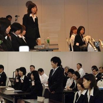 輸送機器環境工学プログラムの女子学生との討論