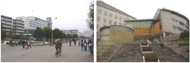 左:大学構内の風景 右:図書館