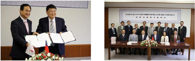 左:呉農学院長(右)と江坂研究科長 右:式後に記念撮影
