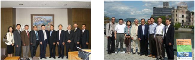 左:学長室にて記念撮影   右:10月10日 広島市の平和記念公園にて